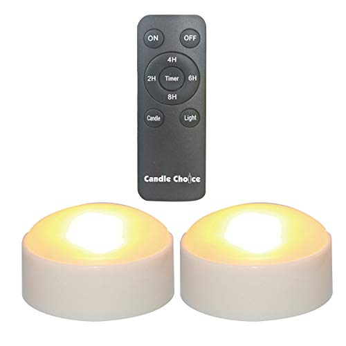 CANDLE CHOICE Set of 2 Remote Controlled Plastic LED/Flameless/Battery-Operated Pumpkin Lights (Small, 3 D x 2 H)