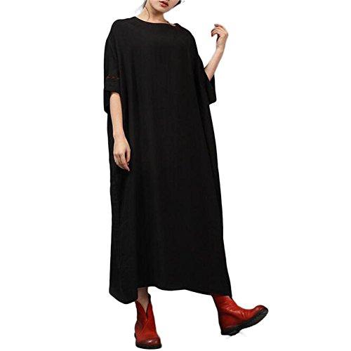 Fxwj Vestidos Mujer Manga 3/4 Algodón y lino bordados color sólido falda , blue Black