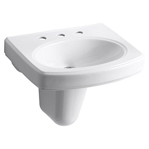 White Pinoir Bathroom Sink - Kohler K20358WH Pinoir Wall-Mount Bathroom Sink, White