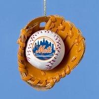 Kurt Adler 3'' New York Mets Ball and Glove Tree Ornament - DISCONTINUED
