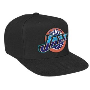 Mitchell & Ness Utah Jazz Basic Logo Snapback Hat in Black