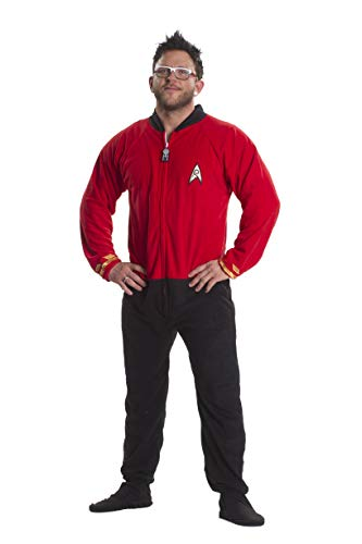 Star Trek Engineering Red Footed Onesie Adult Pajamas (X-Small) -