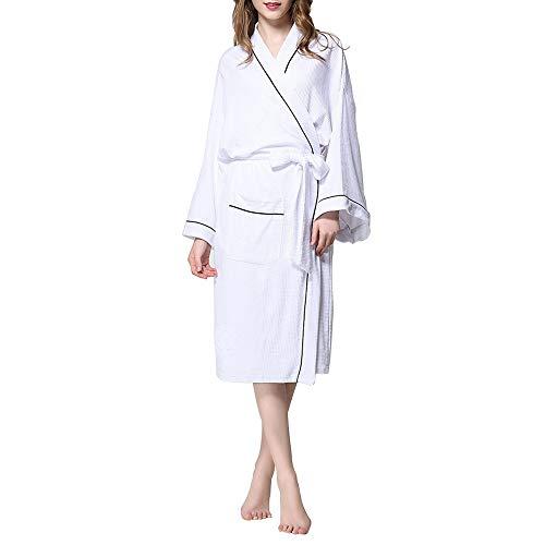 MALLTY Accappatoio per donna Accappatoio in cotone Spa Plus Size Accappatoio leggero lungo (Color : Pink, Size : XL) White