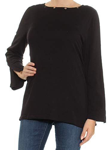 Alfani Womens Embellished Jewel Neck Pullover Sweater Black M