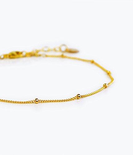 Dew Drops bracelet, Dainty Gold Chain bracelet, beaded Chain bracelet, Gold bracelet, Dainty bracelet, Thin bracelet, Delicate bracelet, satellite bracelet ()