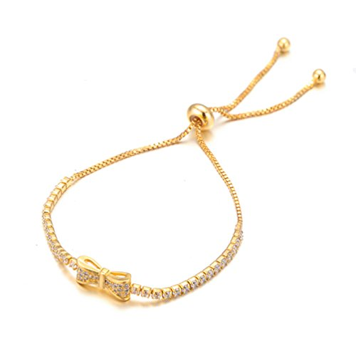- SAKAIPA Rose Gold Silver Plated Charm Bracelets CZ Women Jewelry (Golden)