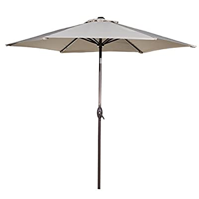 Abba Patio Outdoor Patio 9-Feet Aluminum Market Table Umbrella with Push Button Tilt and Crank