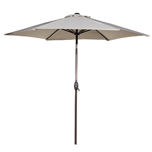 9' Outdoor Market Umbrella - Abba Patio Outdoor Patio Umbrella 9-Feet Aluminum Market Table Umbrella with Push Button Tilt and Crank, Beige