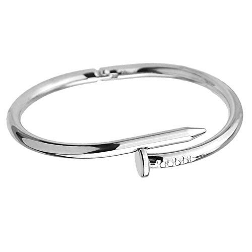 SZDM Bracelet Simple Titanium Steel Stainless Steel Nails Bracelet Silver Gold Bracelets Bangles for Women Men Best Gift Jewelry (Stainless Nail Steel Bracelet)