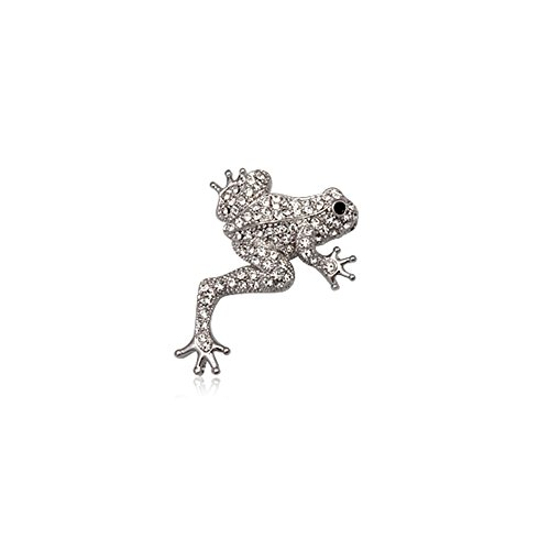 (Blue Pearls - White Crystal Frog Brooch and Rhodium Plated - CRY 8507 T CRY 8507 T)