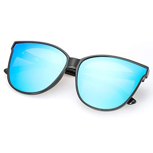 Contre 100 Nocifs Noir Lunettes Protection Polarisées UVB Rayons Vintage Femmes Pour UVA Modernes Réfléchissantes Les Soleil Bleu de vvOEq8R