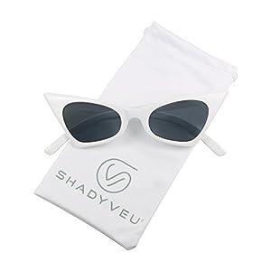 ShadyVEU - Small Retro Pointed Vintage Frame Tinted Cat Eye Pointy Sunglasses (White Frame, Smoke Black Lens)