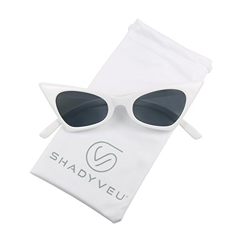 ShadyVEU - Small Retro Pointed Vintage Frame Tinted Cat Eye Pointy Sunglasses (White Frame, Smoke Black Lens)