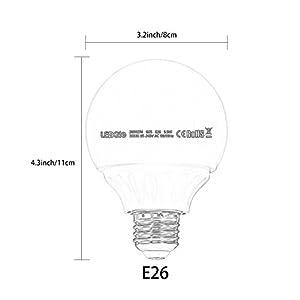 LEDGLE 5.5W LED Globe Light Bulbs G25 E26 LED Bulbs 50W Incandescent Bulb Equivalent,500lm Vanity Light Bulbs 3000K Warm White, 270 Beam Angle, Make up Light Bulbs, Non-Dimmable (6 Pack)