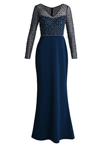Fenghuavip Navy Blue Slim Prom Dress V Neck Long Sleeves Evening Gowns Beaded Us12