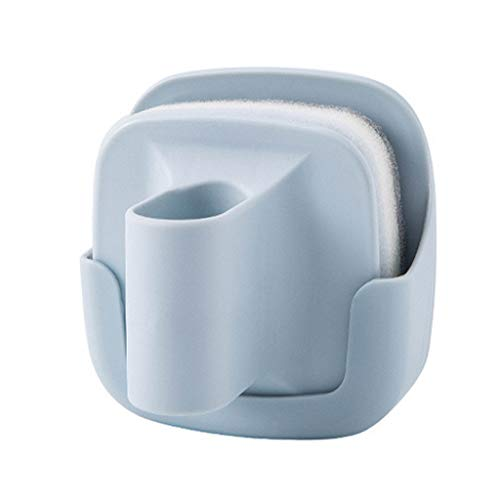 Dishwashing Brush Pot Cleaning Brush,Heavy Duty Dish Wand Sponge For Kitchen,Kitchen Wall-mounted with handle Sponge (blue) ()