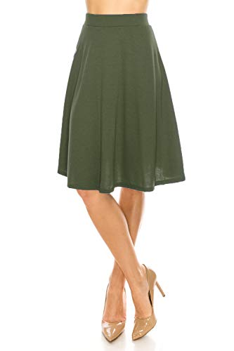 MoDDeals Women's Solid & Floral A-line Flared Knee Length Casual & Dressy Midi Skirt (Small, Olive) ()