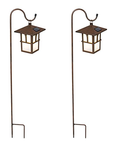 Winsome House Pagoda Hanging Solar Lanterns with Shepherd's Hooks, Set of 2