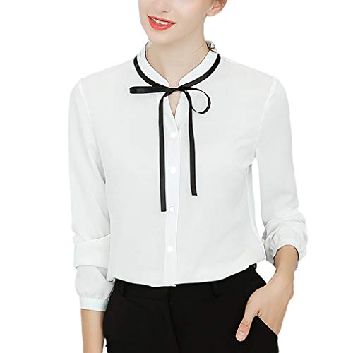 kaifongfu Lady White Bowtie Long Sleeve Chiffon Xmas Work Tops Blouses Button Down Shirts OL Shirts(White,XXL) ()