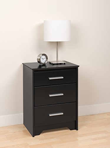 Prepac Black Coal Harbor 3 Drawer Tall Nightstand by Prepac