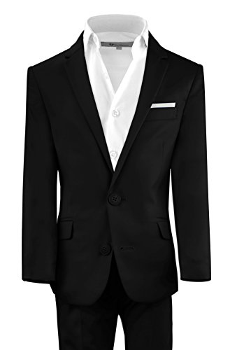 Black n Bianco Boys' First Class Slim Suits Black 10 -