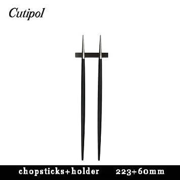 Cutipol GOA negro/plata palillos con soporte 1 pieza, profesional anthorization marca (negro y plata): Amazon.es: Hogar