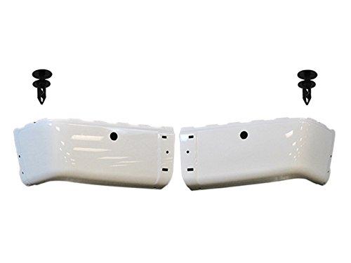 BUNDLE 2007-2013 Silverado Sierra Rear Bumper End Painted White Retainer W/ Sensor Hole 4 PCS