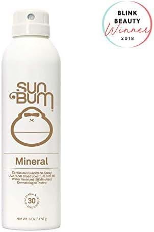 Sun Bum Mineral Sunscreen Spray, SPF 30, Broad Spectrum UVA/UVB Protection, Hypoallergenic, Paraben Free, Gluten Free, Vegan, 1 Count