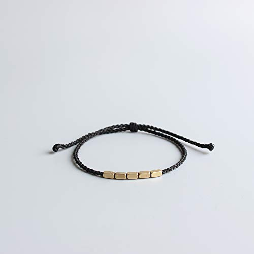 - TALE Lucky Black Rope Bracelet With Copper Charm Beads Tibetan Buddhist Hand Braid Knots couple bangle- Thin Edition