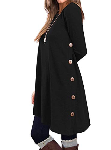 KORSIS Women's Long Sleeve Round Neck Button Side T Shirts Tunic Dress 31Rjw4i9maL   31Rjw4i9maL