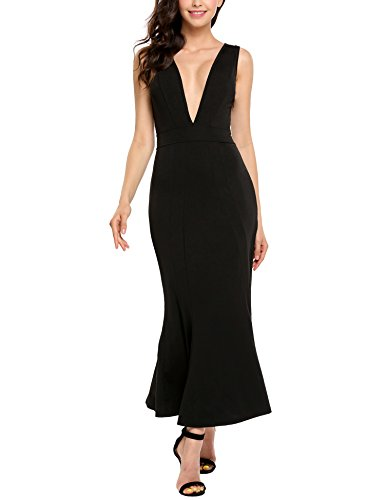 Full Figure Cocktail Dresses (AL'Ofa Women's Sexy Deep V Neck Sleeveless Solid Bodycon Maxi Cocktail Dress Evening Gown, XL, Black)