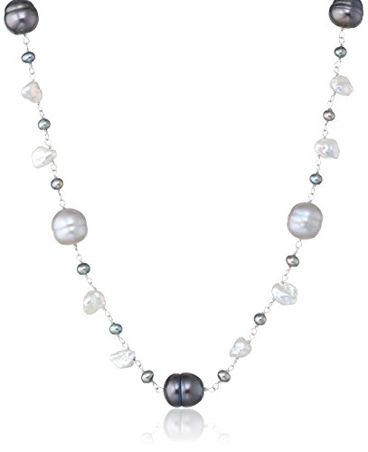 14k White Gold 3.5-9mm Multicolor Black, White and Grey Cultured Freshwater Pearl Necklace, 18""