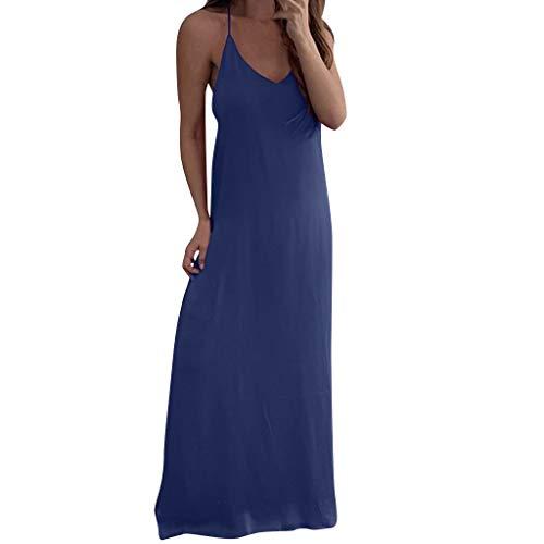(TIFENNY Women Sexy Sling Dresses Rond Neck Sleeveless Spaghetti Strap Chiffon Vest Casual Beach Loose Long Dress)