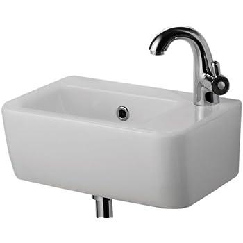 Nice ALFI Brand AB101 Small Wall Mounted Ceramic Bathroom Sink Basin, White