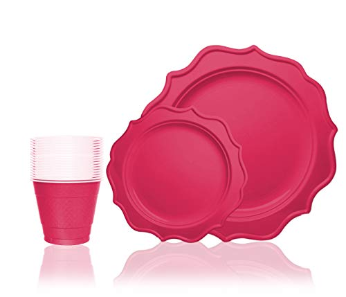 Tiger Chef 144-Pack Fuchsia Color Round Scalloped Rim Disposable Plastic Plate Set for 48 Guests Includes 48 10-Inch Dinner Plates, 48 8-Inch Salad Plates - BPA-Free