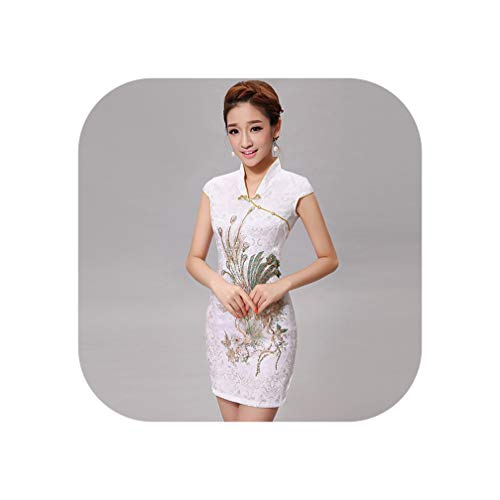 New Cheongsam Chinese Style Chinese Traditional Dress Sleeveless Female Qipao Dress Pattern Unique Party Evening Dresses,Ivory,M