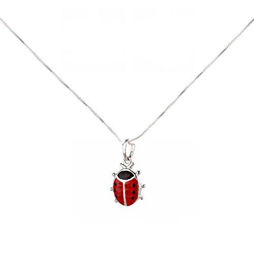 SL-Silver Cadena infantil pequeña con colgante de mariquita, plata 925, en caja de regalo