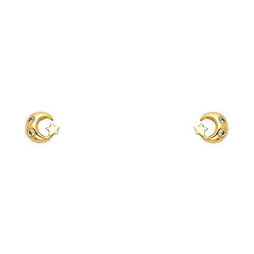 (14k Yellow Gold Moon and Star Stud Earrings with Screw)