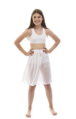 Rosette Girls Half Slip - Cling Free - Nylon Material - White - 8-10