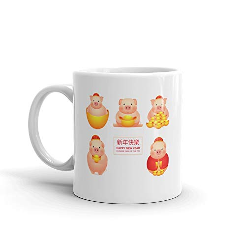 Cute Pig With Money In A Red Suit And Without Chinese New Year Set Of Cartoon Characters Pigs On White Tea Mug 11 Oz Ceramic