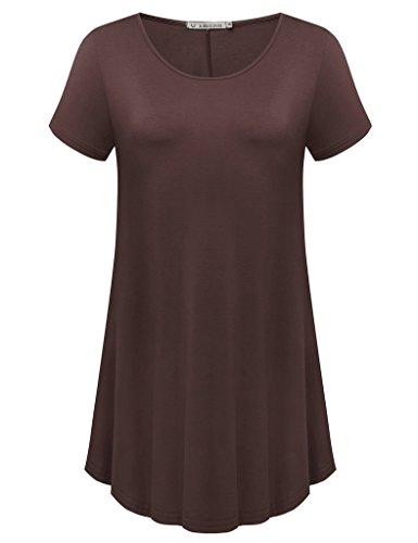 JollieLovin Women's Short Sleeve Loose Fit Flare Hem T Shirt Tunic Top (Coffee, L)