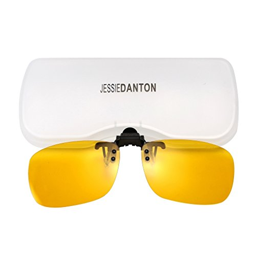 JESSIEDANTON HD Night Vision Polarized Clip-on Flip Up Metal Clip Rimless Sunglasses, Lightweight, XL Size, Yellow - Glasses Sunglass Clip With