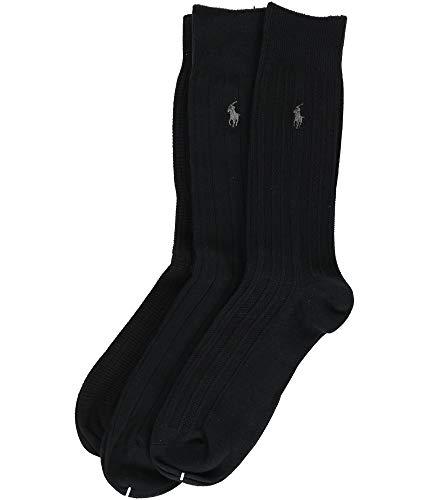 Mens Ribbed Dress Socks - Polo Ralph Lauren Men's Dress Socks 3 Pair (6-12 1/2) (10-13, Black Ribbed)
