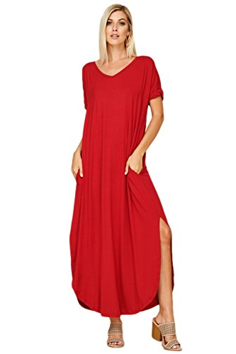 Annabelle Women's Casual Short Sleeve Curved Hem Split Pocket Maxi Dresses With Pockets X-Large Dark Red D5210X