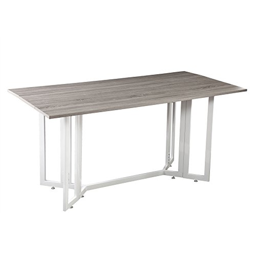 Holly & Martin Driness Drop Leaf Console Dining Table, Weathered Gray Finish with White Metal Base