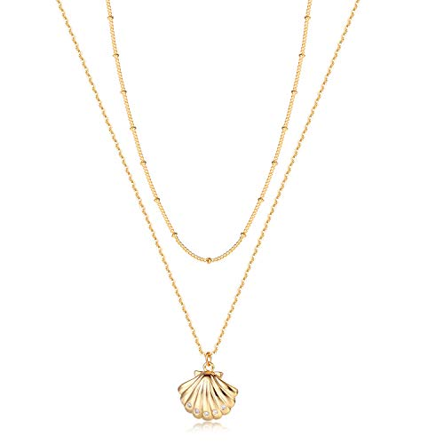 Fettero Layered Necklace, Shell Choker Neckelace, Dainty Handmade 14K Gold Plated CZ Minimal Bohemian Shell Pendant Necklace Ocean Jewelry