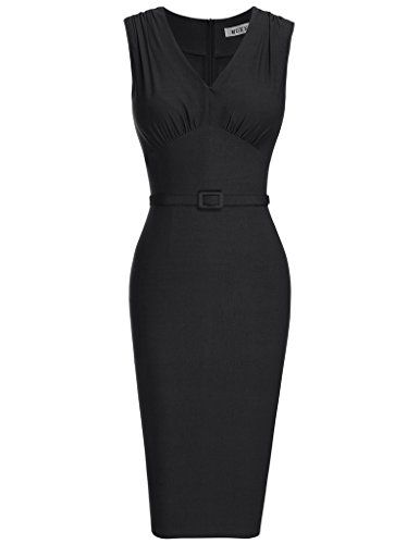 MUXXM Women's Vintage 1950s V Neck Belt Waist Cocktail Junior Bodycon Dress