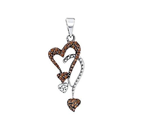 (Brandy Diamond Chocolate Brown 10k White Gold Double Heart Drop Necklace Pendant 1/5 Ctw.)