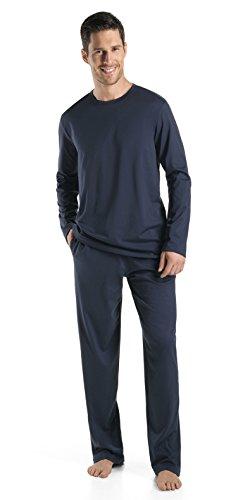 HANRO Men's Night and Day Long-Sleeve Shirt, Black Iris, X-Large ()