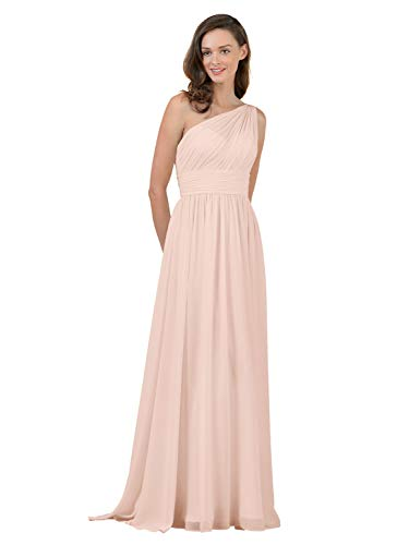 Alicepub One Shoulder Blush Bridesmaid Dress for Women Long Evening Party Gown Maxi, Pearl Pink, US10 (Chiffon Floor Length Gown)